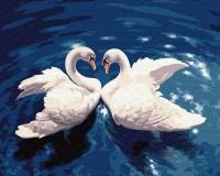 Картина по номерам 40*50 см, Два лебедя