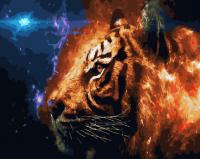 Картина по номерам 40*50 см, Фэнтези с тигром