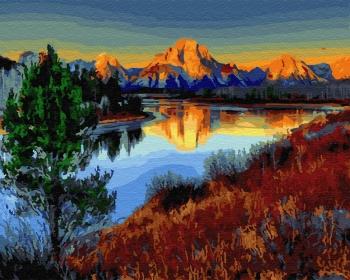 Картина по номерам 40*50 см, Снежная гора