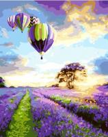 Картина по номерам 40*50 см, Воздушные шары над лавандовым полем