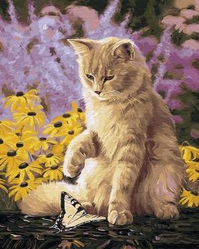 Картина по номерам 40*50 см, Ленивый кот