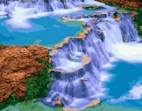 Картина по номерам 40*50 см, Голубой водопад