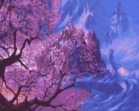 Картина по номерам 40*50 см, Цвет сакуры в горах