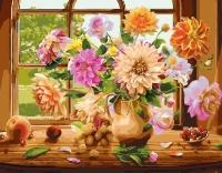 Картина по номерам 40*50 см, Георгины на окне