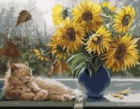 Картина по номерам 40*50 см, Кот и подсолнухи