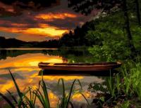 Картина по номерам 40*50 см, Одинокая лодка