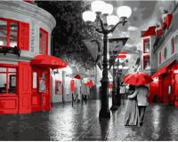 Картина по номерам 40*50 см, Прогулка под красным зонтом