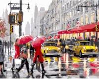 Картина по номерам 40*50 см, Желтые такси и красные зонтики