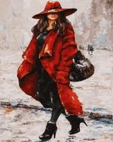 Картина по номерам 40*50 см, Леди в красном пальто
