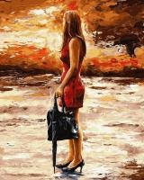 Картина по номерам 40*50 см, Девушка с зонтом