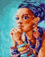 Картина по номерам 40*50 см, Этническая африканка