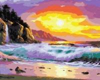 Картина по номерам 40*50 см, Волны на закате