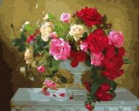 Картина по номерам 40*50 см, Розы в белом кубке