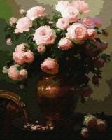 Картина по номерам 40*50 см, Натюрморт с розовыми розами