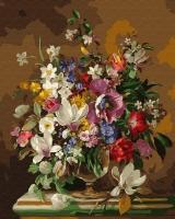 Картина по номерам 40*50 см, Натюрморт с букетом цветов